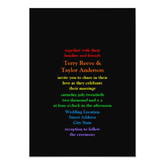 Minimalistic Rainbow Font Black Background Wedding Personalized Announcements