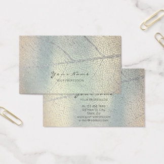Minimalistic Silver Gray Leaf Mother Pearl Blue Business Card
