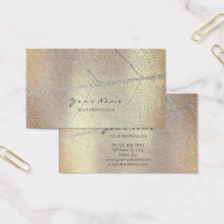 Minimalistic Silver Gray Leaf Rose Gold Copper Business Card