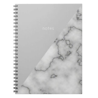Minimalist's  Marble and Grey Spiral Notebook