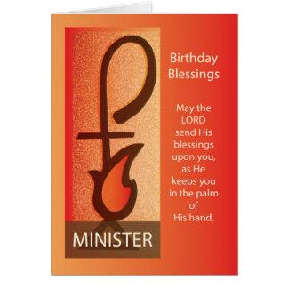 Minister Birthday, Shepherd Staff & Flame Religiou Card