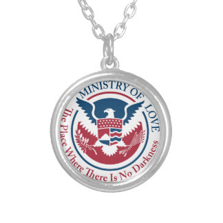 ministry of love, official seal silver plated necklace