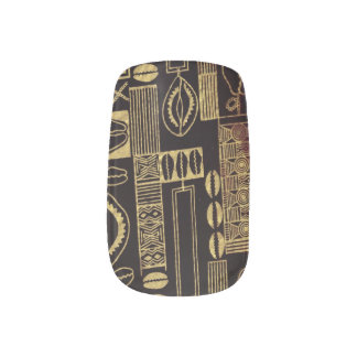 Mink Nail Decals: Gold on Black Manicure Nail Art