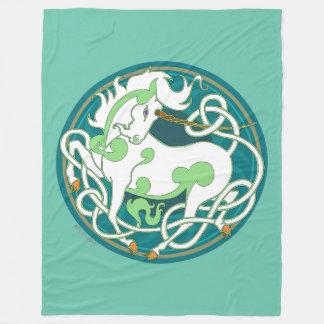 Mink Nest Large Fleece Blanket-Geen/Teal/White