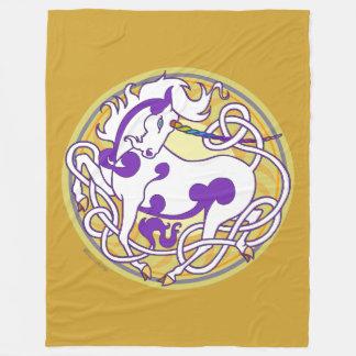 Mink Nest Large Fleece Blanket-White/Purple/Yellow