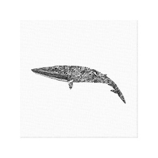 Minke Whale Tribal Graphic Illustration Canvas Print