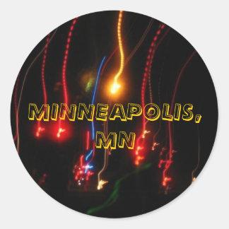 minneapolis fireworks classic round sticker