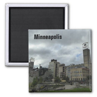 Minneapolis Mill Ruins Park Skyline Photo Magnet
