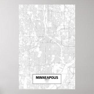 Minneapolis, Minnesota (black on white) Poster