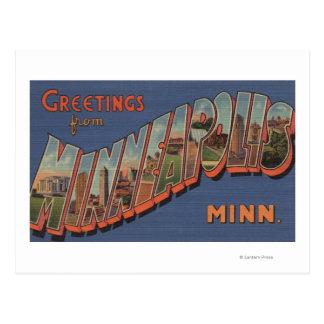 Minneapolis, Minnesota - Large Letter Scenes Postcard