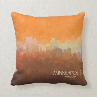 Minneapolis, Minnesota Skyline-In the Clouds Throw Pillow