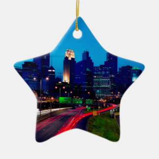 Minneapolis Night Skyline Ceramic Ornament