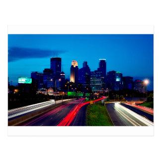 Minneapolis Night Skyline Postcard