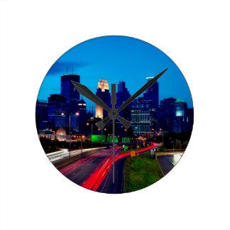 Minneapolis Night Skyline Round Clock