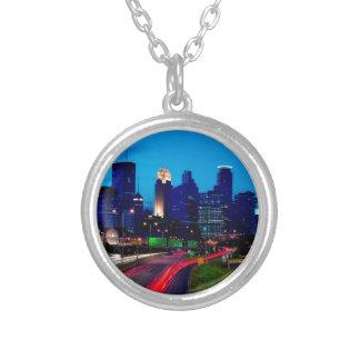 Minneapolis Night Skyline Silver Plated Necklace