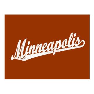 Minneapolis script logo in white distressed postcard