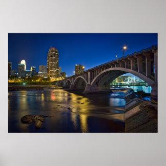 Minneapolis Skyline at Night:  3rd Ave. Bridge Poster