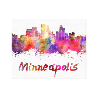 Minneapolis skyline in watercolor canvas print