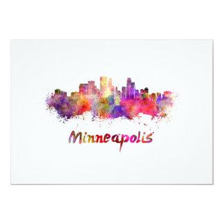 Minneapolis skyline in watercolor card