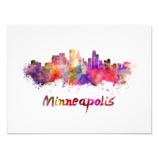 Minneapolis skyline in watercolor photo print