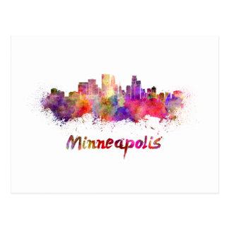 Minneapolis skyline in watercolor postcard