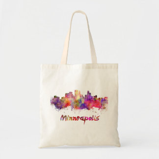 Minneapolis skyline in watercolor tote bag