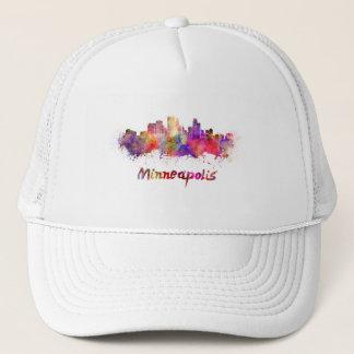 Minneapolis skyline in watercolor trucker hat