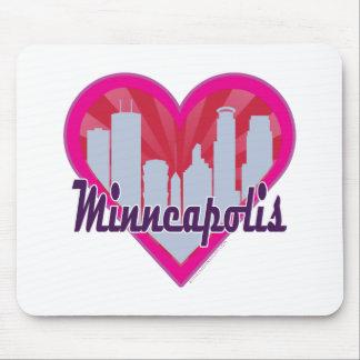 Minneapolis Skyline Sunburst Heart Mouse Pad