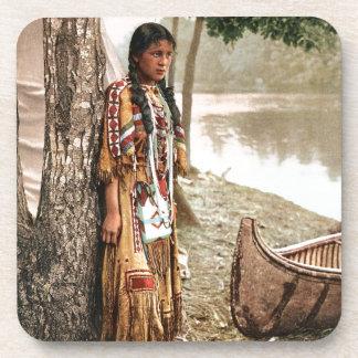 Minnehaha 1897 Native American Hiawatha Vintage Drink Coaster