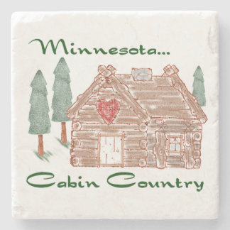 Minnesota Cabin Country Stone Coaster