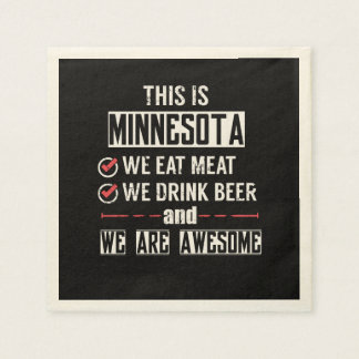 Minnesota Eat Meat Drink Beer Awesome Paper Napkin