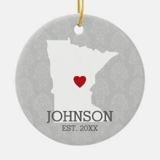 Minnesota Home State City Map - Custom Wedding Ceramic Ornament