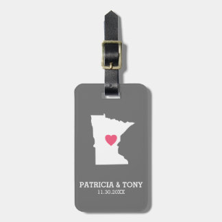 Minnesota Home State Love with Optinal Heart Luggage Tag