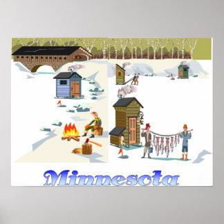 Minnesota Ice Fishing Print