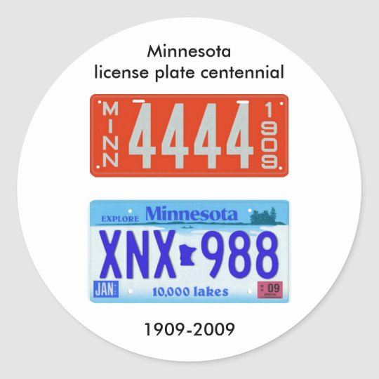 Minnesota license plate centennial classic round sticker