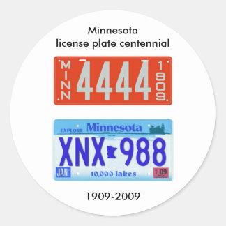 Minnesota license plate centennial round sticker