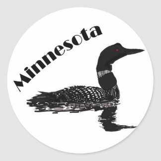 Minnesota loon classic round sticker