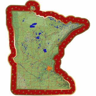 Minnesota Map Christmas Ornament Cut Out