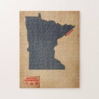Minnesota Map Denim Jeans Style Jigsaw Puzzle