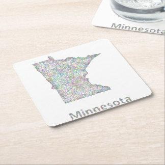 Minnesota map square paper coaster
