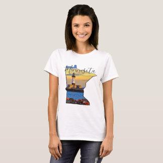 Minnesota Map with Lighthouse T-Shirt