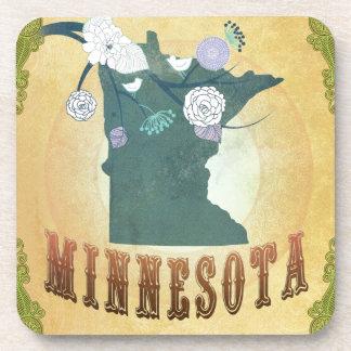 Minnesota Map With Lovely Birds Coaster