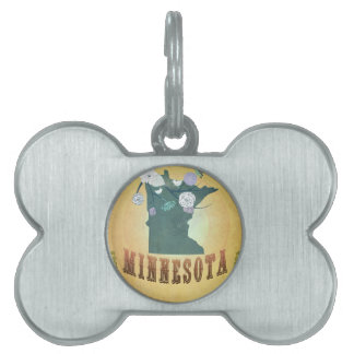 Minnesota Map With Lovely Birds Pet Tag