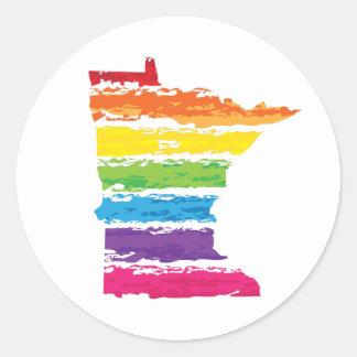 minnesota rainbow strokes classic round sticker