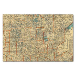 Minnesota road map tissue paper