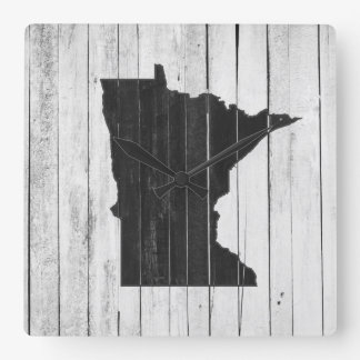 Minnesota Rustic Black and White Wood Panel Farm Square Wall Clock