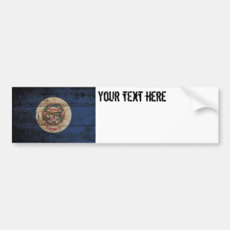 Minnesota State Flag on Old Wood Grain Bumper Sticker