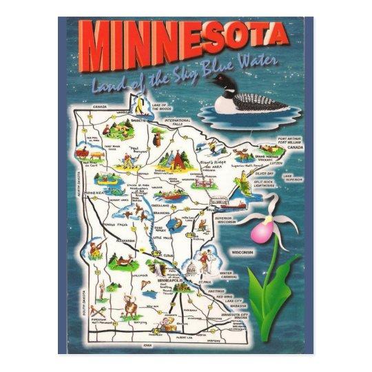 Minnesota State  Map Postcard