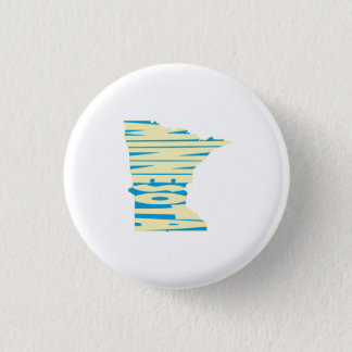 Minnesota State Name Word Art Yellow 1 Inch Round Button