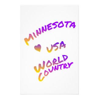 Minnesota usa world country, colorful text art custom stationery